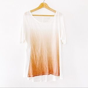 Free People Over Sized Ombre Crew Neck T Shirt